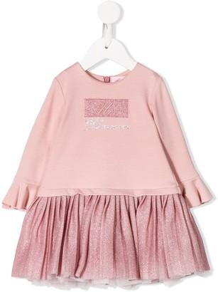 Miss Blumarine rhinestone logo mini dress
