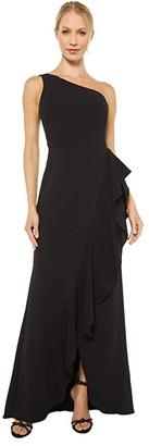 Adrianna Papell One Shoulder Cascade Gown (Black) Women's Dress