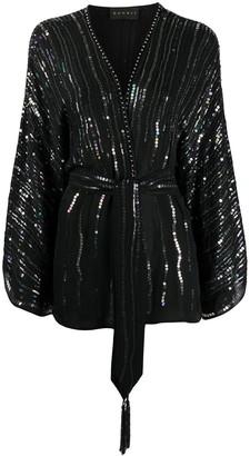 Dundas sequin embellished V-neck silk blouse