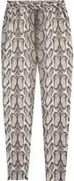 Helene Berman Snake-print satin pants