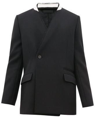 Haider Ackermann Raw-edged Wool-herringbone Jacket - Mens - Black Multi
