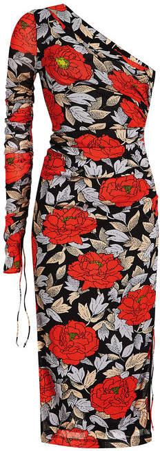Diane von Furstenberg One Sleeve Ruched Print Dress