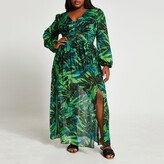 Thumbnail for your product : River Island Womens Plus Green tropical print maxi dress