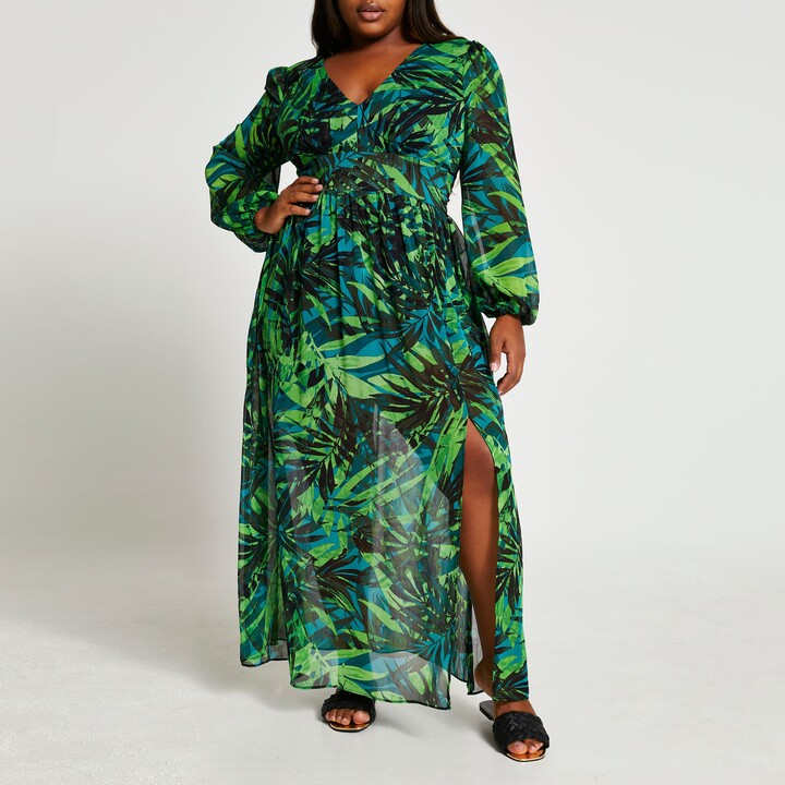 Thumbnail for your product : River Island Womens Plus Green long sleeve tropical maxi dress