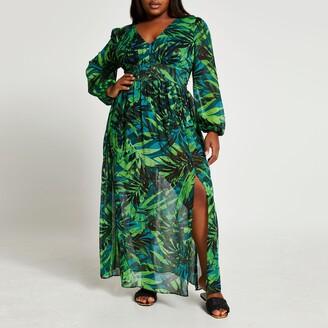 River Island Womens Plus Green tropical print maxi dress