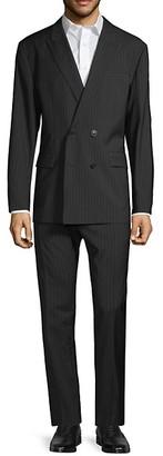 HUGO BOSS Standard-Fit Double-Breasted Pinstripe Virgin Wool Suit