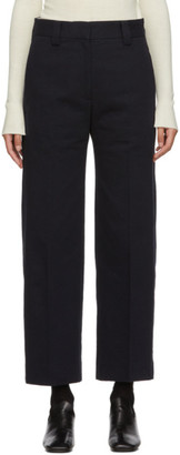 Studio Nicholson Navy Straight Pleated Trouser