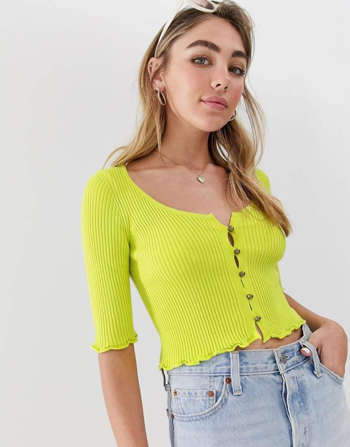 Asos Design DESIGN short sleeve button front cardigan with scoop neck