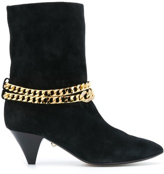 Alevì Chain Embellished Mid-Heel Boots