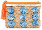 Milly Pompom Straw Clutch