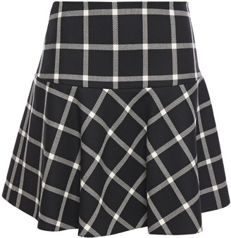 RED Valentino Flared Checked Wool-twill Mini Skirt