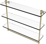 ALLIED BRASS Allied Brass Foxtrot Collection 22 IN Triple Tiered Glass Shelf With Integrated Towel Bar