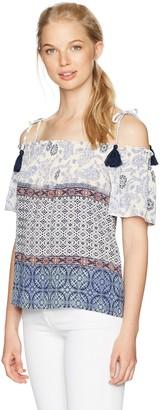 Jolt Women's Printed Cold Shoulder with Tassel Tie