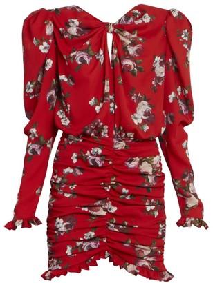 Magda Butrym Ruched Silk Bow Mini Dress