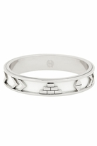 House Of Harlow Silver Aztec Bangle with White Leather