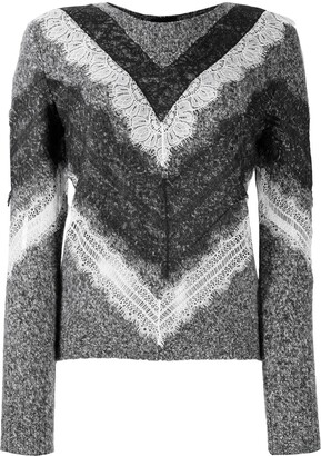 Giambattista Valli Lace-Trim Chevron Sweater