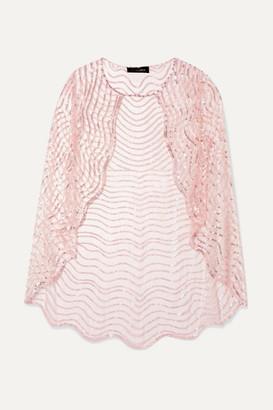 Jenny Packham Neva Sequin-embellished Tulle Cape - Blush