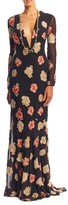 Nicole Miller Embroidered Flowers Plunge Gown