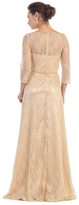 May Queen - Elegant 3/4 Sleeve Laced Bateau Neck A-line Dress MQ1278