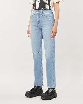 Good American Good Straight distressed high-rise jeans