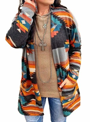 LOSRLY Women's Fashion Casual Long Sleeve Color Block Cardigan Sweater Lightweight Kimono Cardigan Geometric Ethnic Print Vintage Tribal Plus Size Sweater