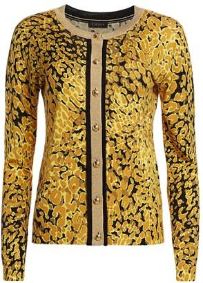 Escada Sivan Abstract Leopard-Print Cardigan