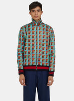 Gucci Men's Geometric Print Teddy Bomber Jacket In Green