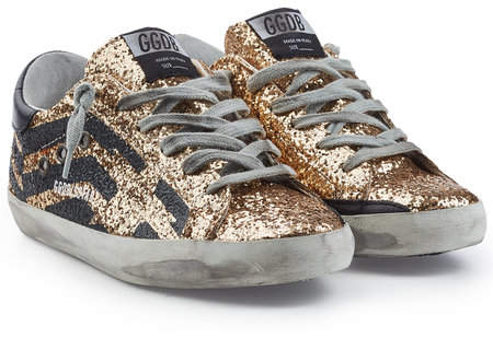 Golden Goose Super Star Leather and Glitter Sneakers