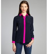Amanda Uprichard ink and hot pink silk crêpe de chine 'Dover' button-down blouse