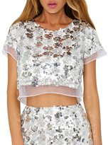 Bess Bridal Women's Sequin Sparkle Short Sleeves Summer Organza Short Crop Tops (S, )
