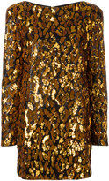 Balmain contrast leopard print dress - women - Silk/Polyester/Viscose - 38