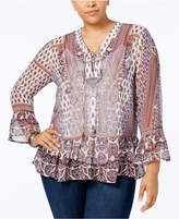 Style&Co. Style & Co Plus Size Mixed-Print Peplum Blouse, Created for Macy's