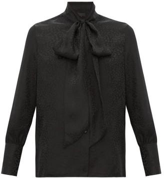 Nili Lotan Avina Pussy-bow Cheetah-jacquard Silk Blouse - Black