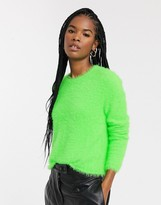 Weekday Cherish fluffy round neck jumper in neon green