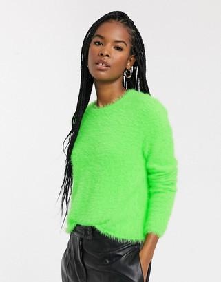 Weekday Cherish fluffy round neck jumper in neon green