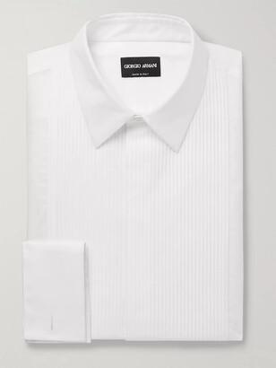 Giorgio Armani White Bib-Front Double-Cuff Cotton-Poplin Tuxedo Shirt
