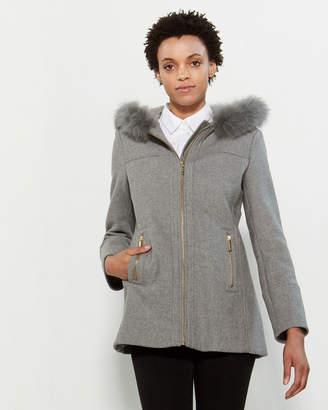 MICHAEL Michael Kors Real Fur-Trimmed Wool Coat