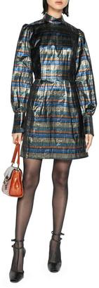 Cue Metallic Check Blouson Sleeve Dress