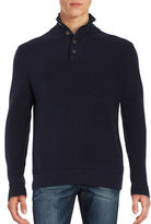 Black Brown 1826 Zip Placket Knit Sweater