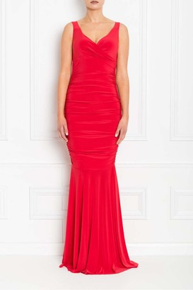 Honor Gold Gabby Red Fishtail Maxi Dress