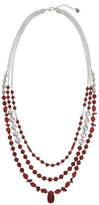 The Sak Layered 3-Row Red Jasper Beaded Necklace