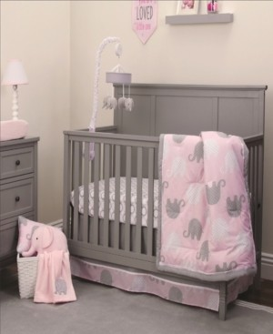 NoJo Pink Elephant 4-Piece Crib Bedding Set Bedding