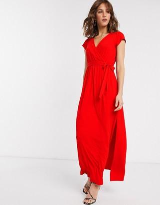 ASOS DESIGN tie waist wrap front maxi dress in red