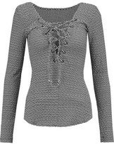 Marissa Webb Rosa Lace-Up Woven Cotton Top