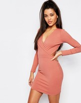 Missguided Ribbed Wrap Mini Dress