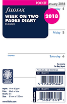 Filofax Week On 2 Pages 2018 Diary Inserts, Pocket, White