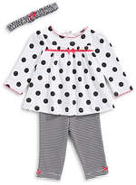 Little Me Three-Piece Polka Dot Cotton Top, Striped Pants and Headband Set