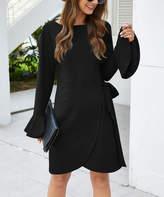 Sucrefas Women's Cocktail Dresses Black - Black Side-Tie Tulip-Hem Bell-Sleeve Dress - Women