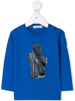 Moncler Enfant Long Sleeve Logo Print Top