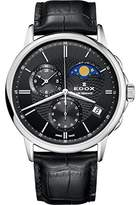Edox Men's 'Les Bemonts' Swiss Quartz Stainless Steel and Leather Dress Watch